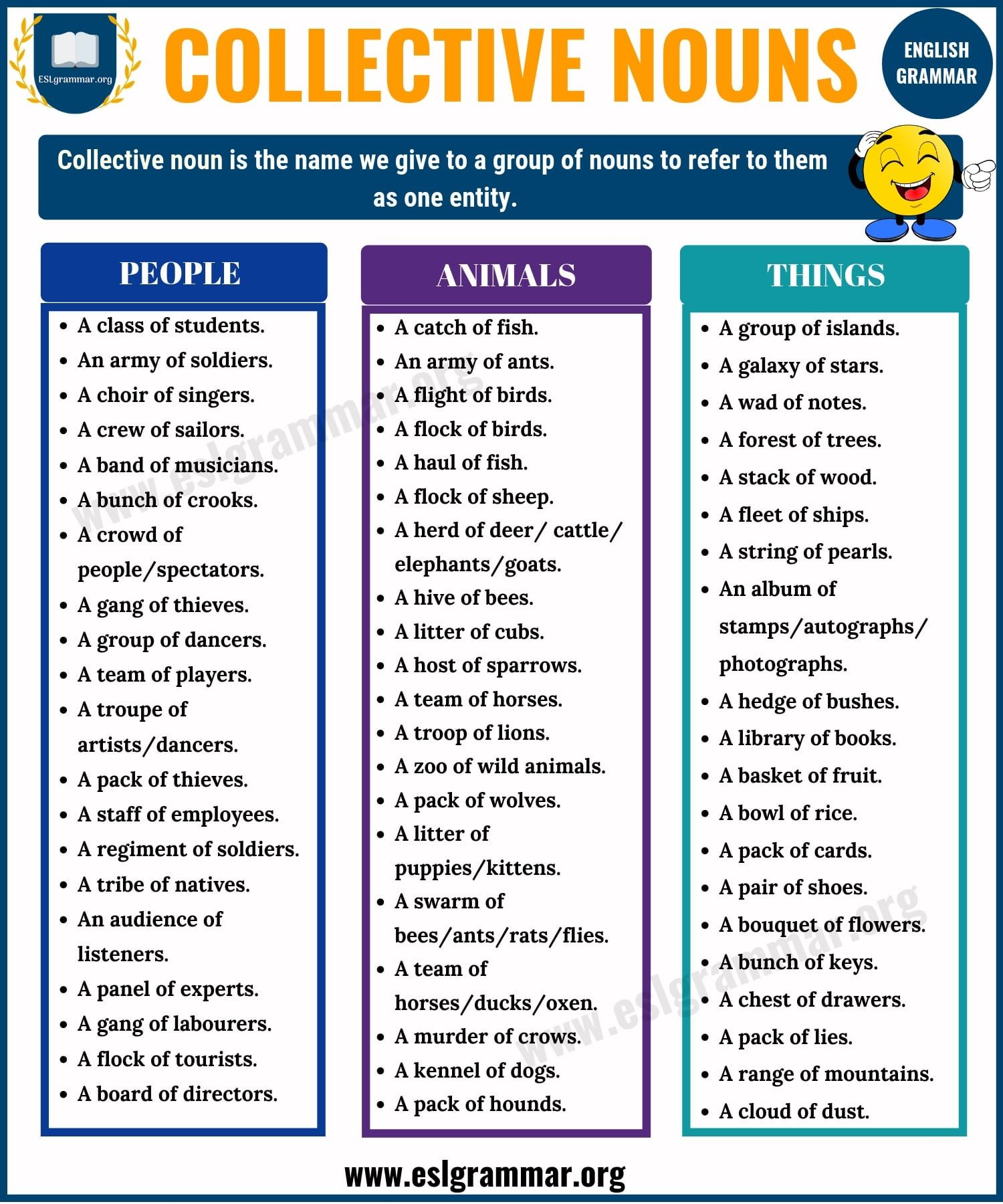 Nouns Types Of Nouns With Definition Rules Useful Examples Esl Grammar In 2020 Collective Nouns English Vocabulary Words Learn English Vocabulary