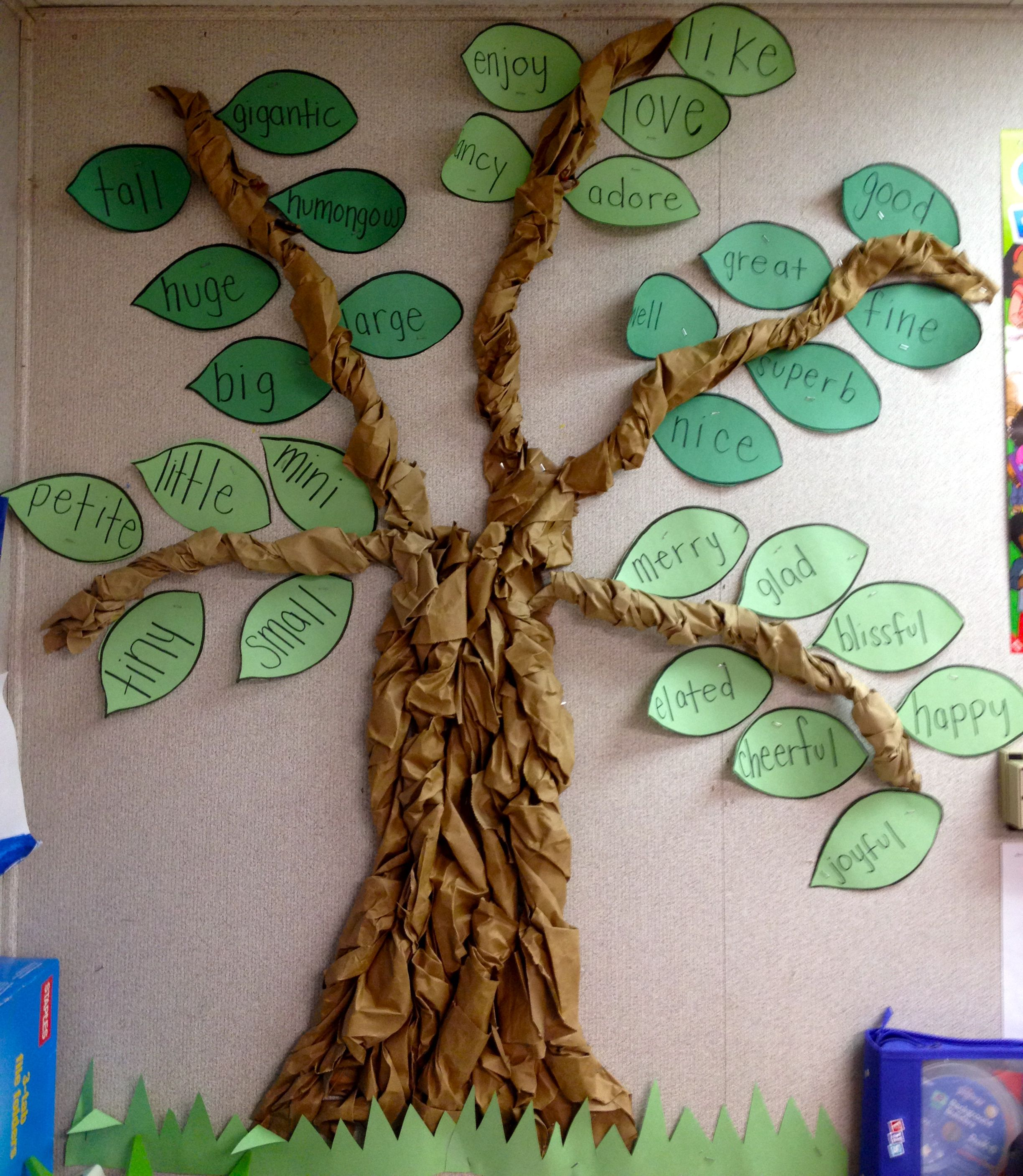 My Classroom Synonym Tree I Made This By Twisting Brown Paper Bags Together Classroom Tree Paper Tree Brown Paper Bag