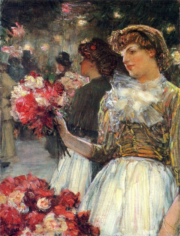 """Peonies"" by Frederick Childe Hassam (1859-1935), American Impressionist painter."