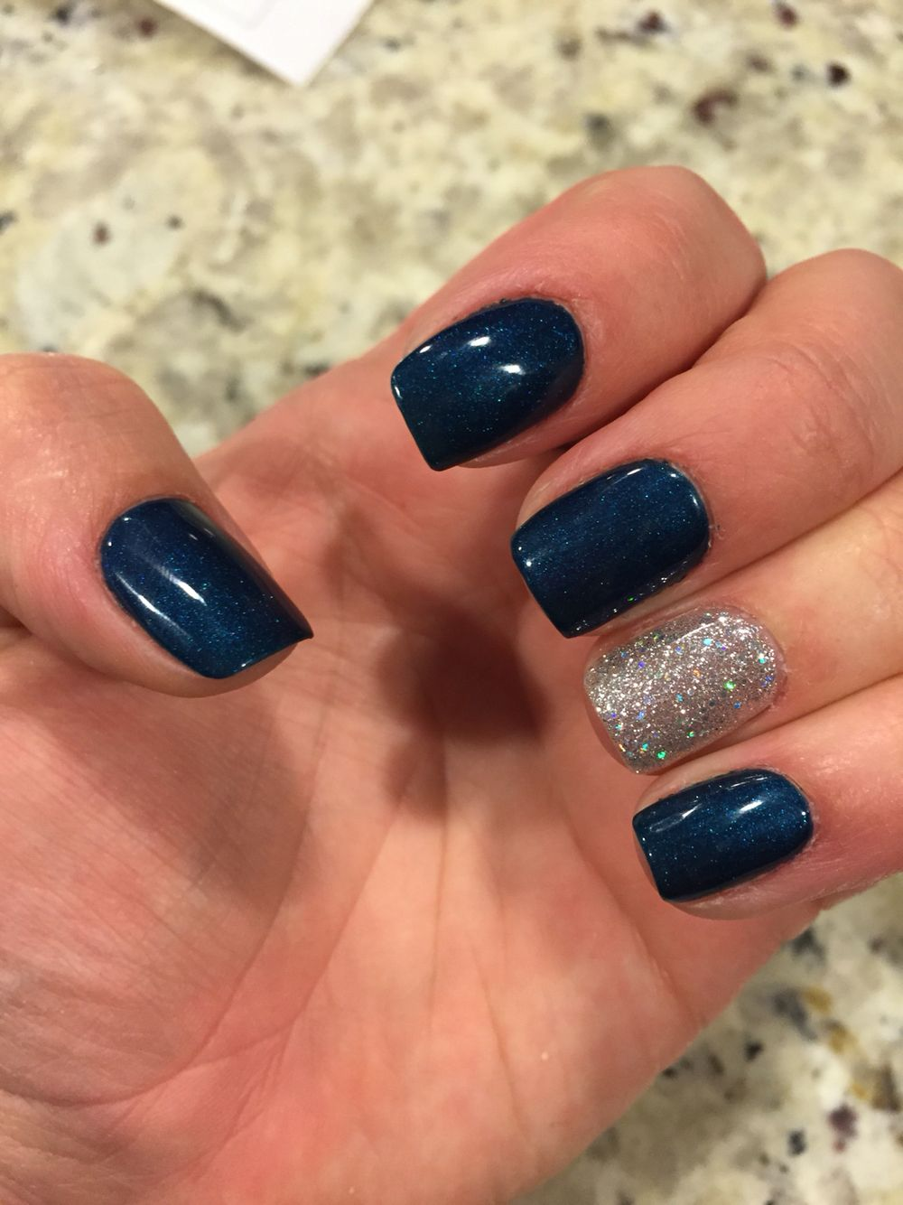 Dark blue and glitter gel nails | Nail arts | Pinterest | Glitter ...