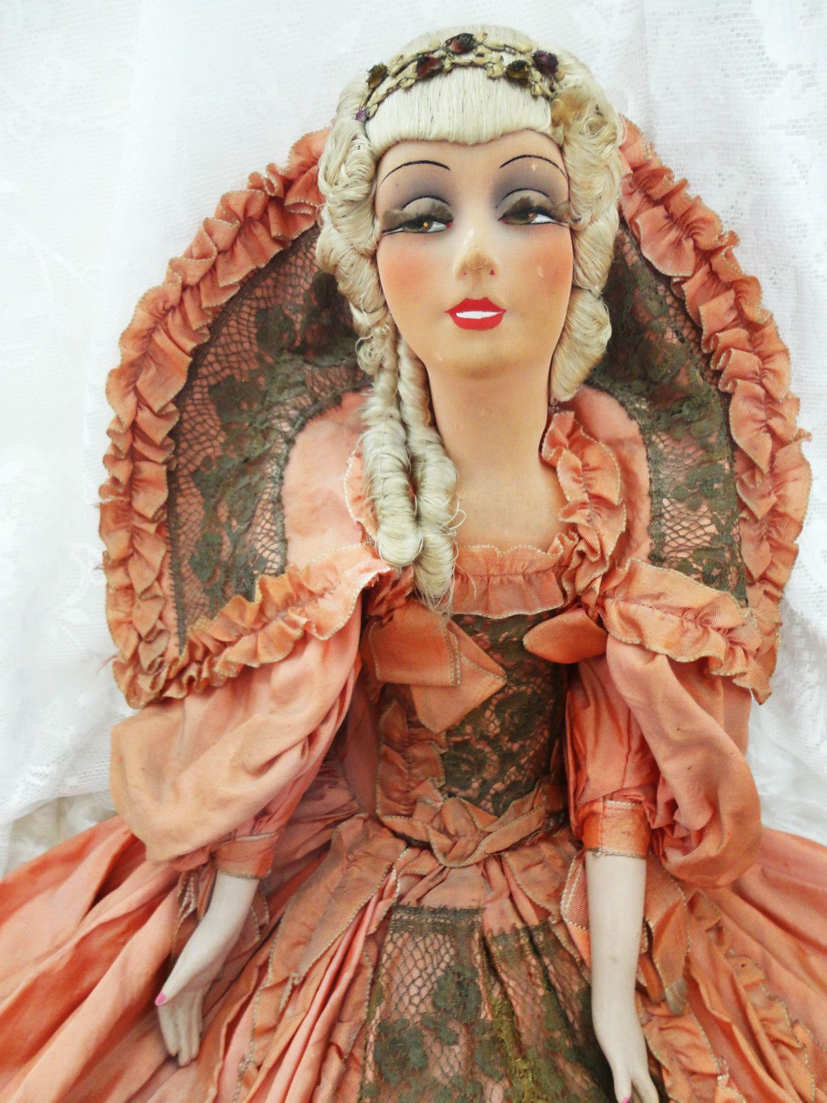 Stunning AO RARE French Smiler Boudoir Bed Doll in Court Lady Dress   eBay
