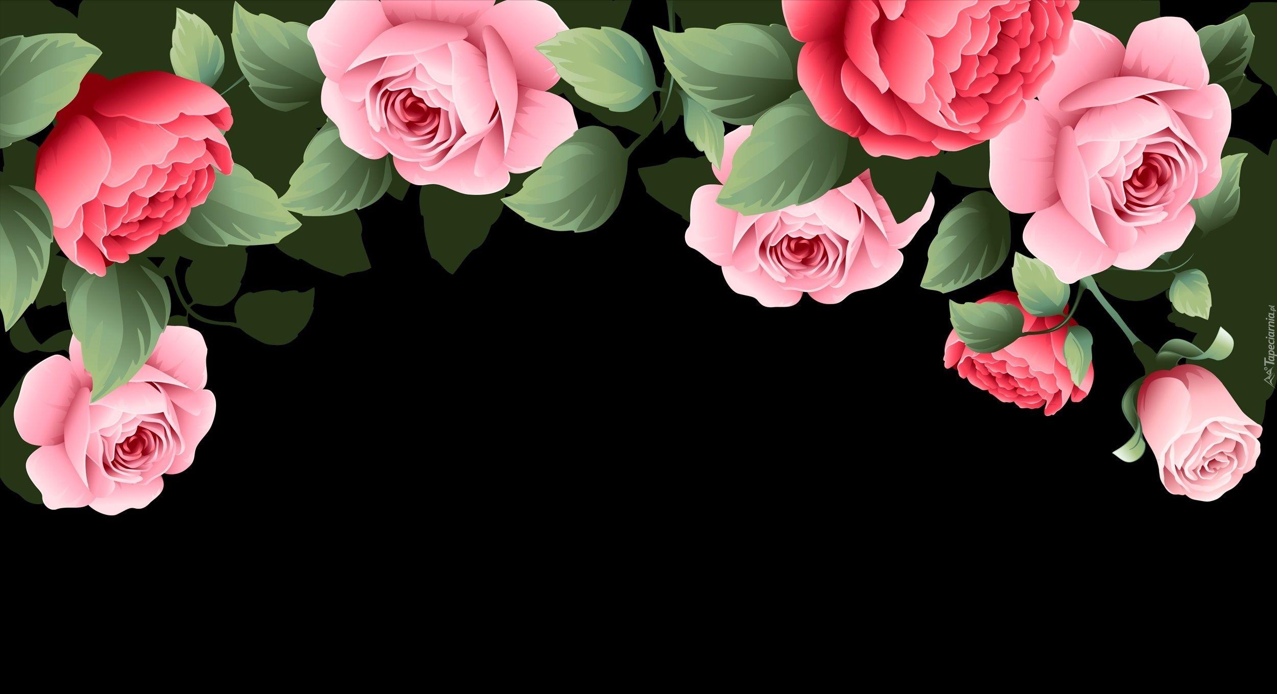 Edycja Tapety Rozowe Roze W Grafice Na Czarnym Tle Wallpaper Texture Floral Wreath