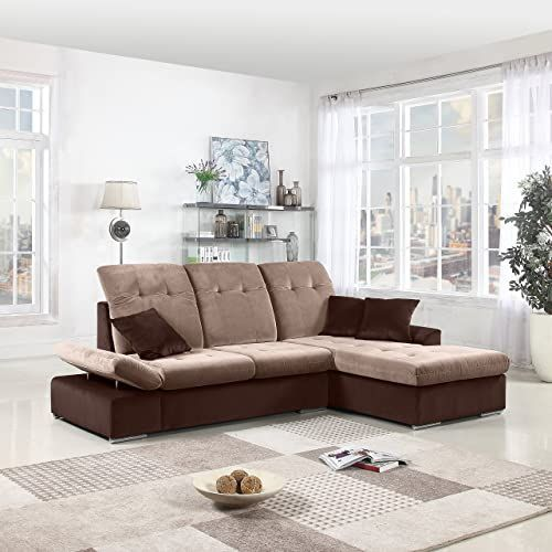 Buy Divano Roma Furniture Classic Large Brush Microfiber L-Shape Sectional Sofa Couch  Chaise Lounge  Adjustable Headrest (Brown/Hazelnut) online - Pptoplike#adjustable #brownhazelnut #brush #buy #chaise #classic #couch #divano #furniture #headrest #large #lounge #lshape #microfiber #online #pptoplike #roma #sectional #sofa