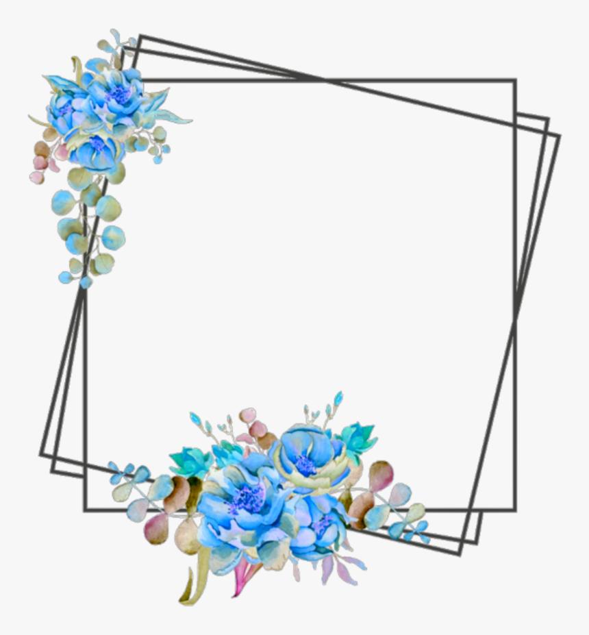 Ftestickers Frame Borders Flowers Blue Clipart Png Flower Frame Border Design Transparent Png I Flower Border Png Floral Border Design Frame Border Design