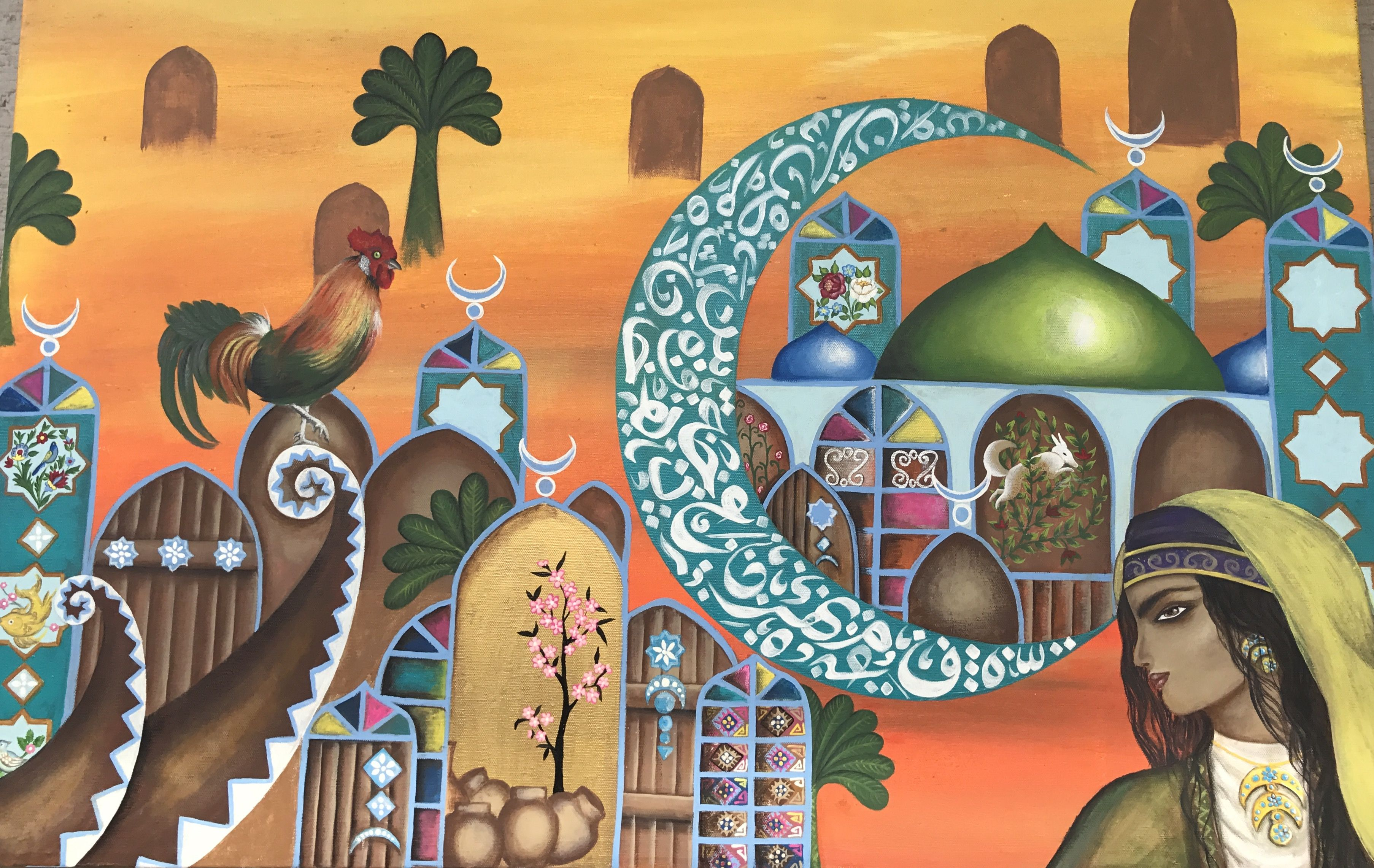 فن تشكيلي عراقي شهرزاد Folk Art Painting Art Painting Islamic Art