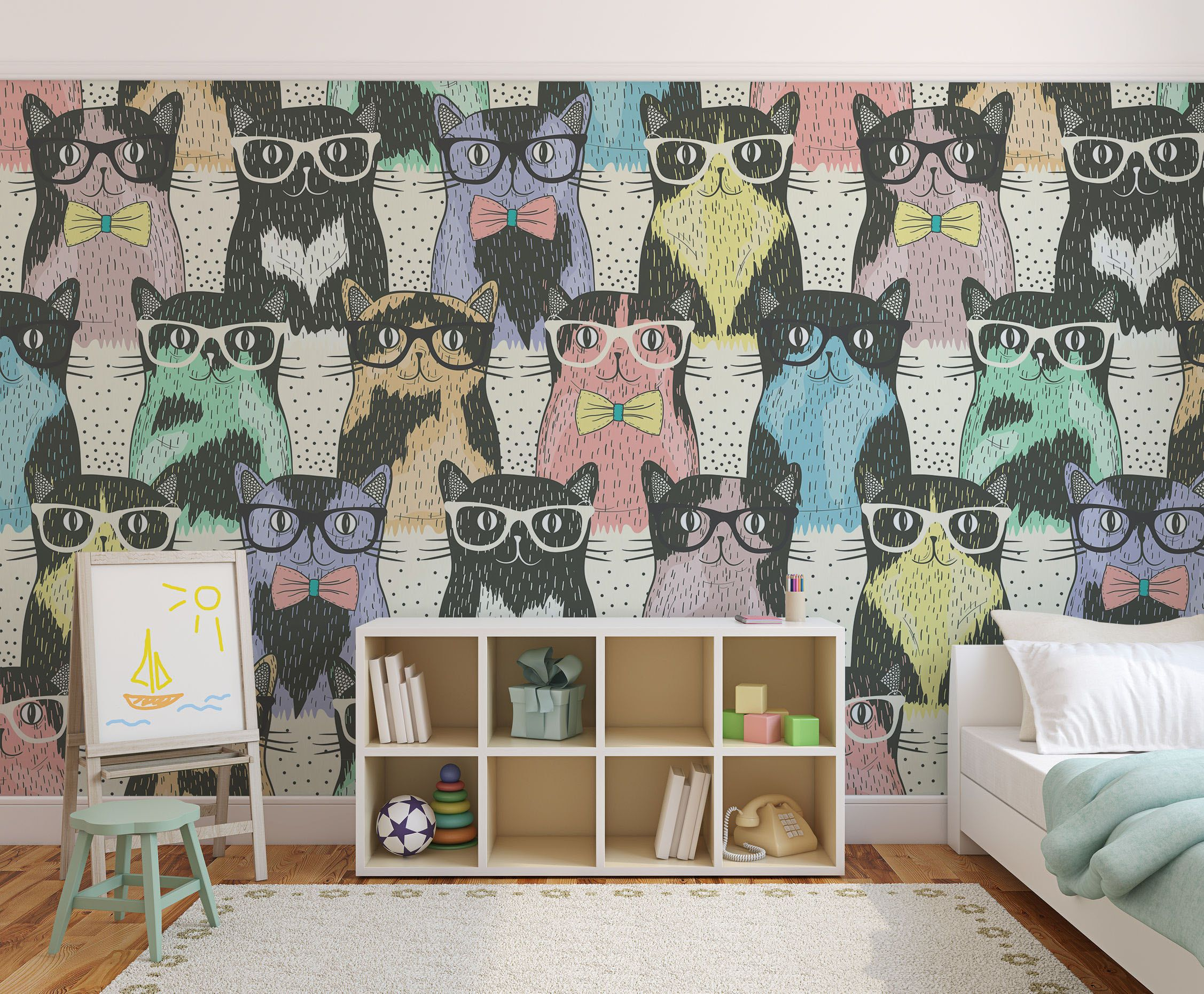 Colorful Cats Wall Mural  For Kids, For Children And