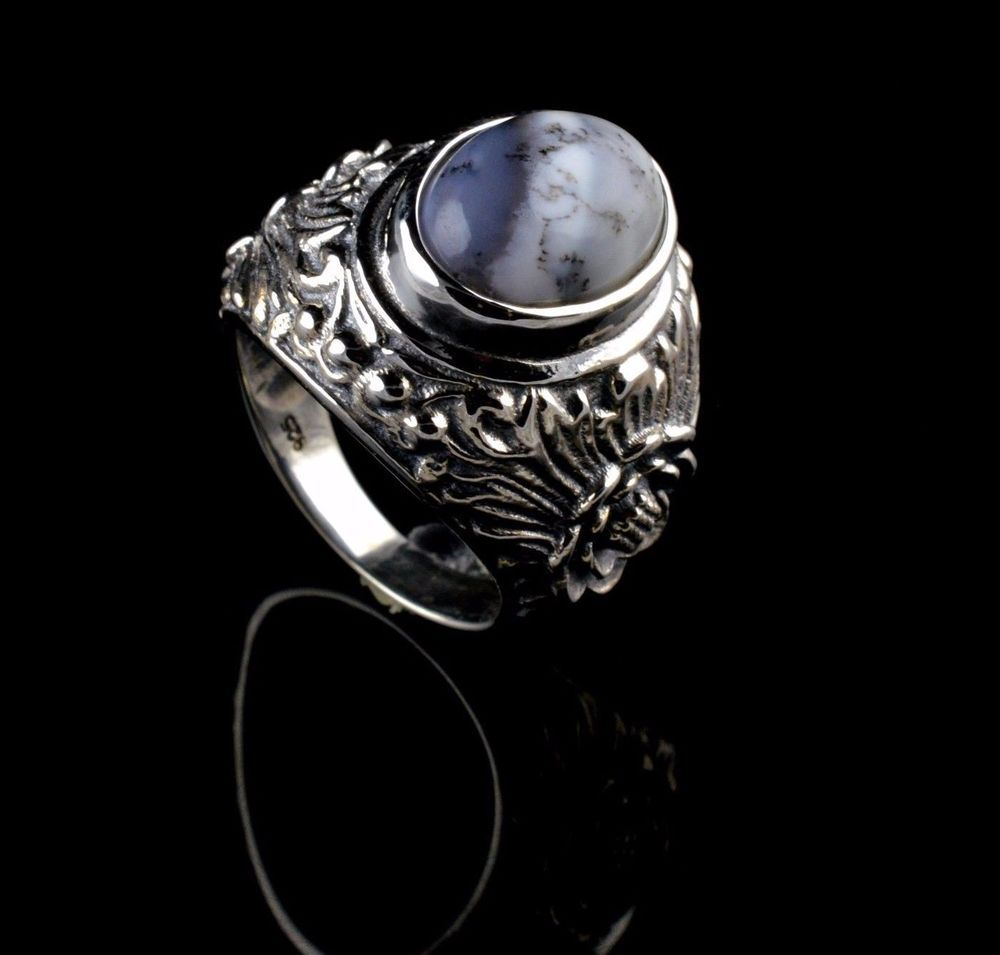 925 STERLING SILVER NATURAL DANDRITIC AGATE GEMSTONE MENS RINGS SIZE 7 US KJR286 #Unbranded