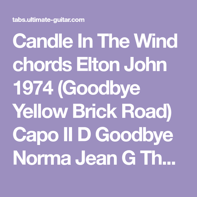 Candle In The Wind Chords Elton John 1974 Goodbye Yellow Brick Road
