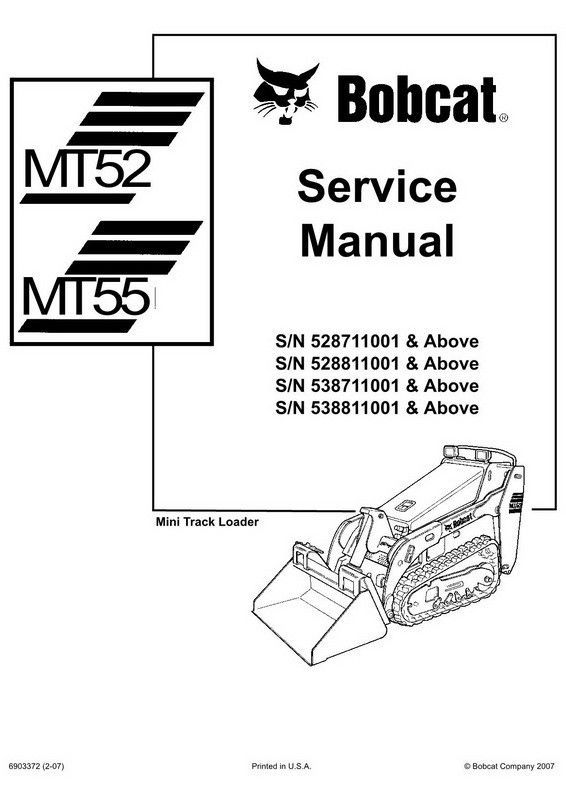 Bobcat MT52, MT55 Mini Track Loader Service Manual