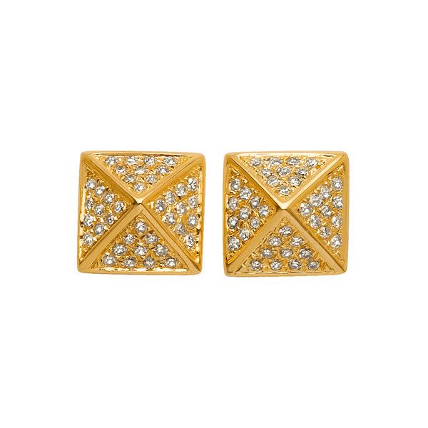 Majolie Collections Gold Spike Diamond Earrings (£480) ❤ liked on Polyvore featuring jewelry, earrings, accessories, long earrings, gold pave earrings, gold diamond earrings, pave diamond earrings and gold post earrings