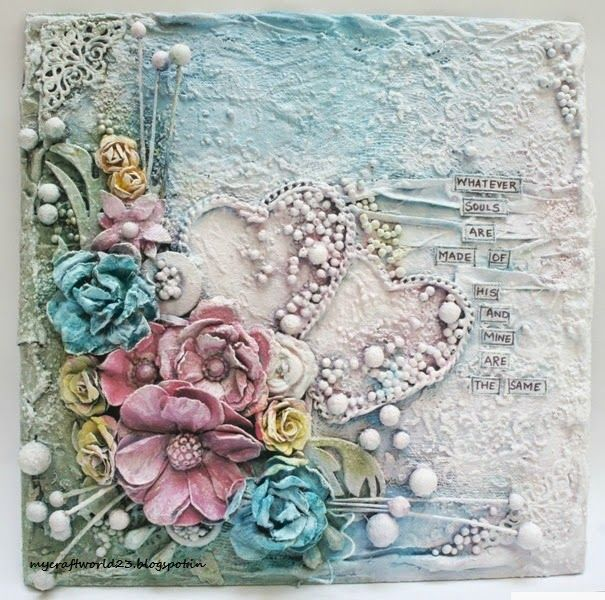 My Craft World: Altered Canvas- Two versions #artjournalmixedmediainspiration