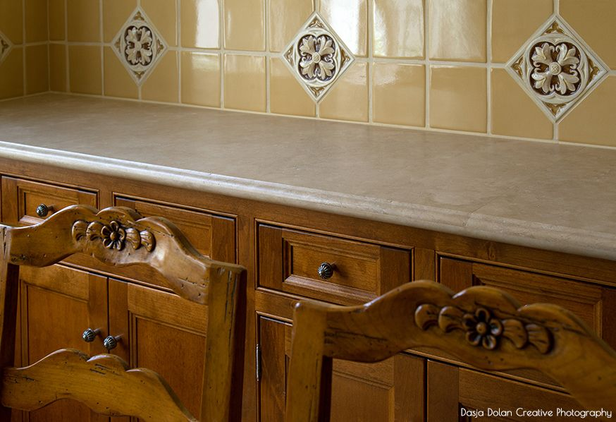 Traditional, Custom Glazed Tile, Cabinets, Hand-carved chairs