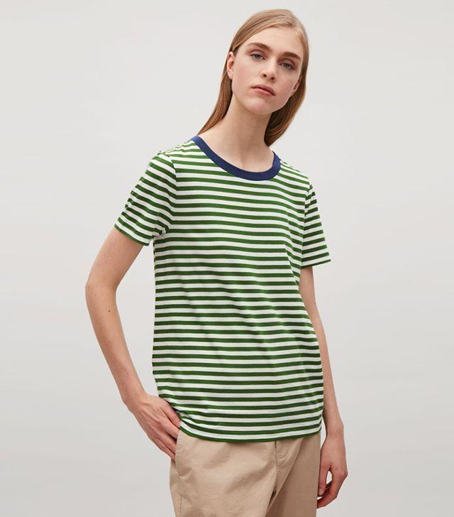532c45cbd2ed85 COS green white striped t shirt
