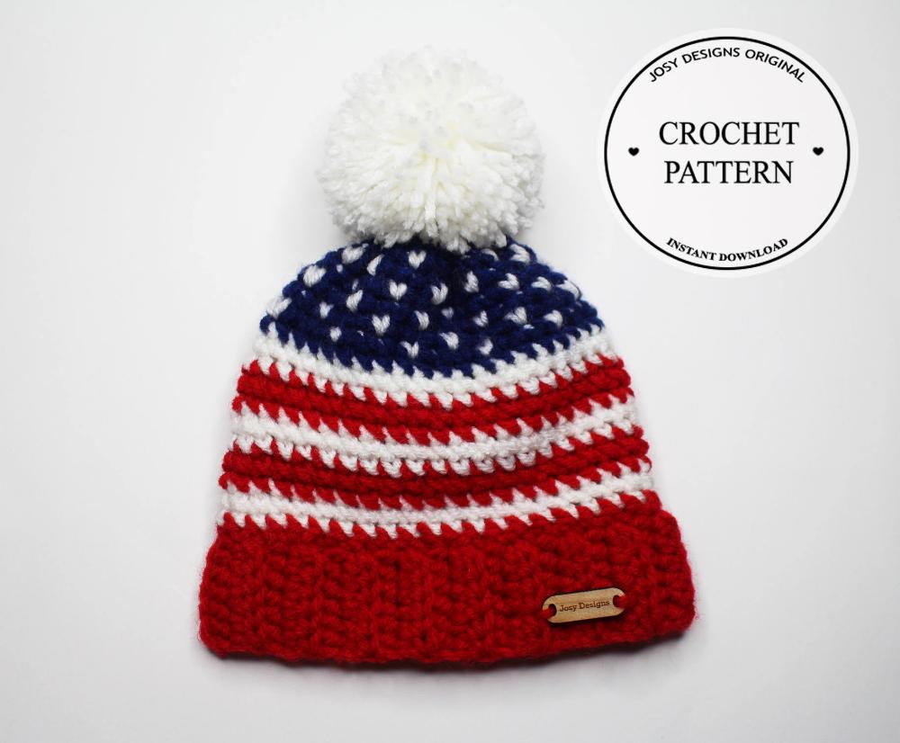 Crochet Pattern American Flag Patriotic Hat for Child / Women   Etsy