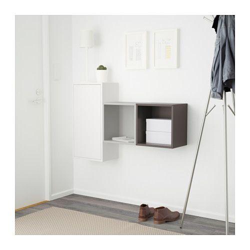 Eket Wall Mounted Cabinet Combination White Dark Gray