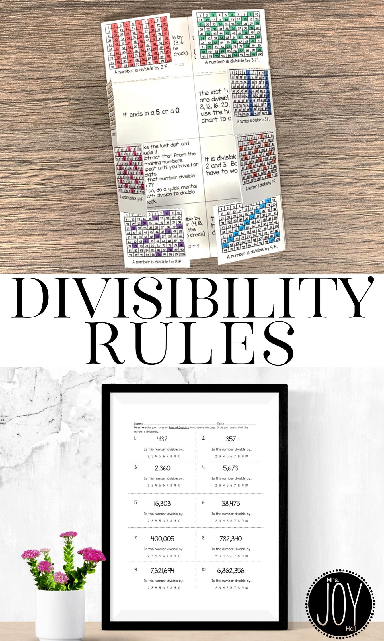 Rules Of Divisibility Interactive Notes Mystery Pictures