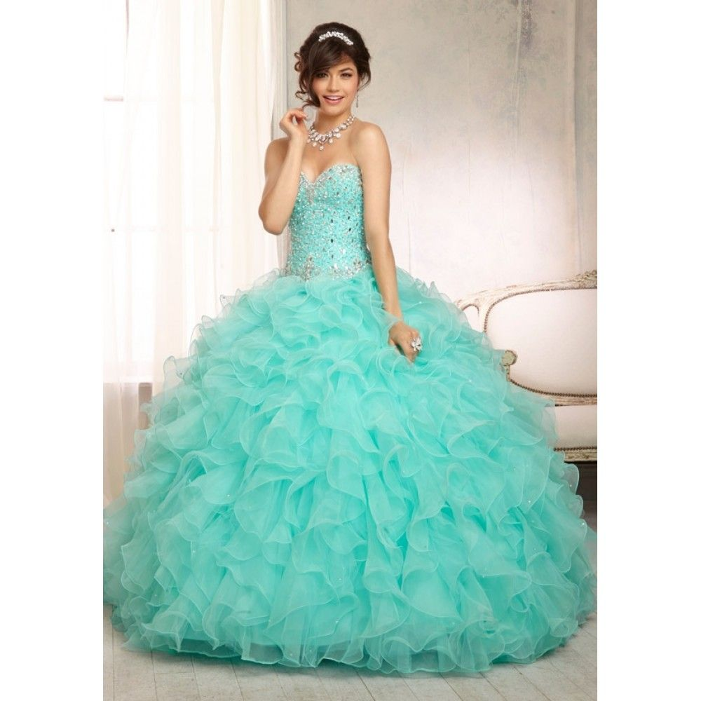 Ball Gown Sweetheart Ruffles Silver Rhinestones Turquoise Tulle ...