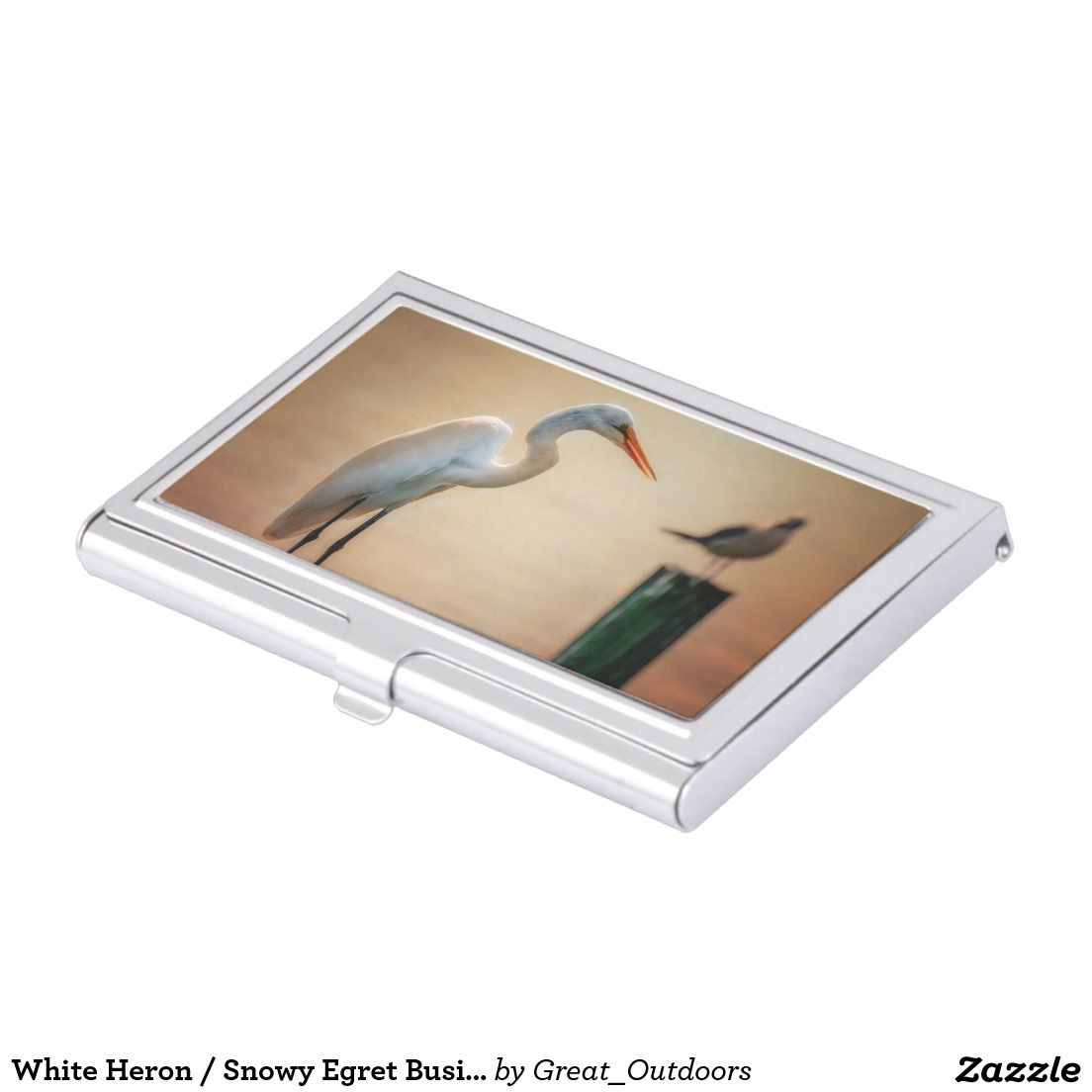 White Heron / Snowy Egret Business Card Holder