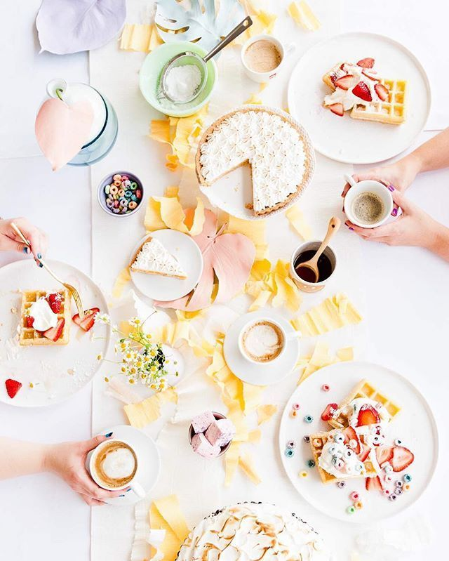 Party flatlay and very colourful but still had a muted yellow colour theme