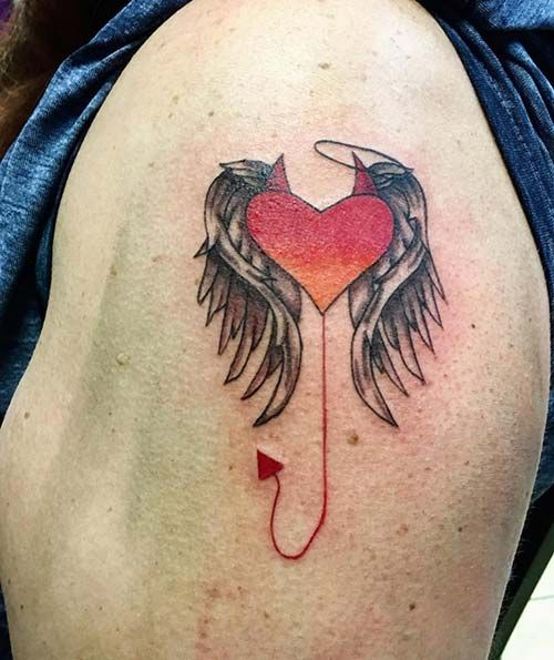 şeytan Melek Kalp Dövmesi Devil Angel Heart Tattoo Tattoos