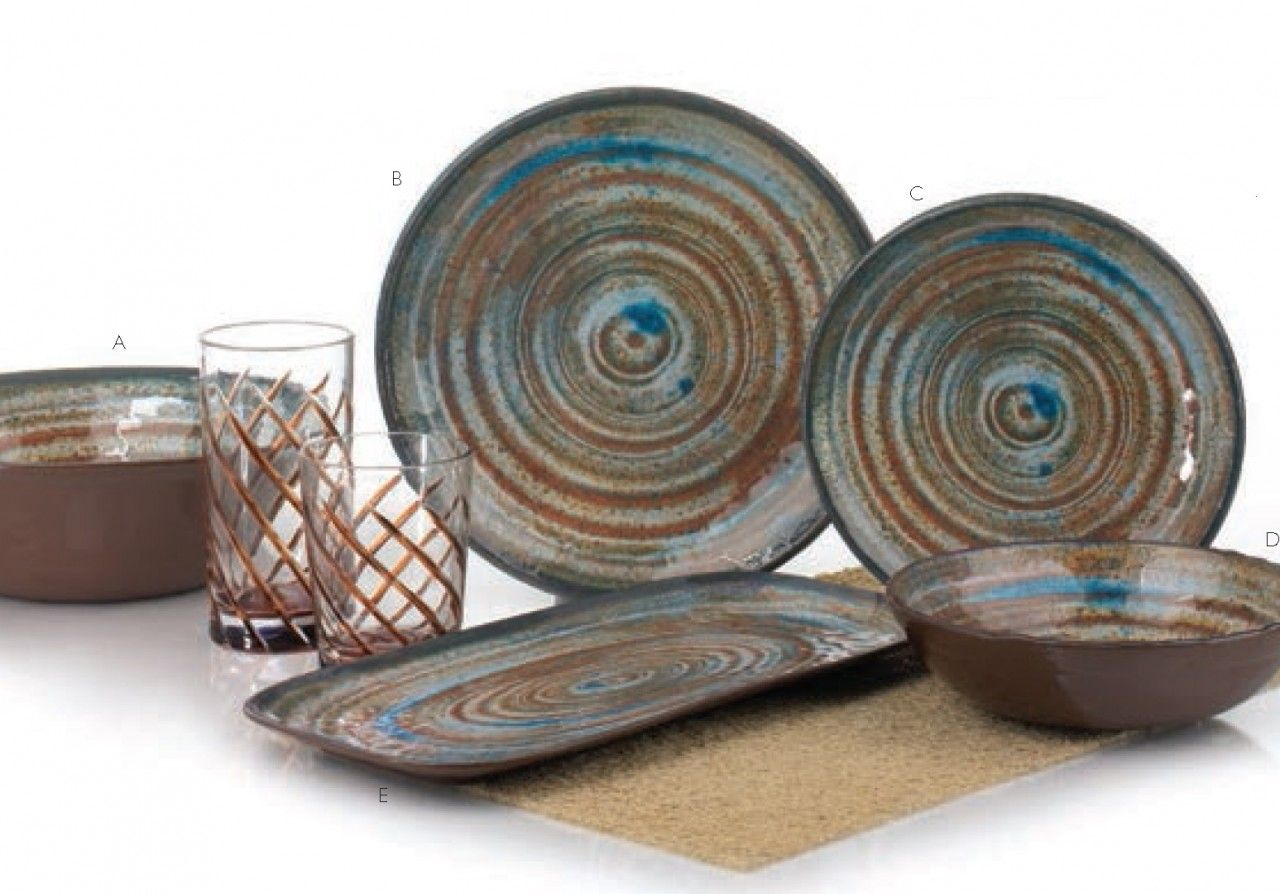 Merritt USA Glazed Swirl Brown Melamine Tableware Collection