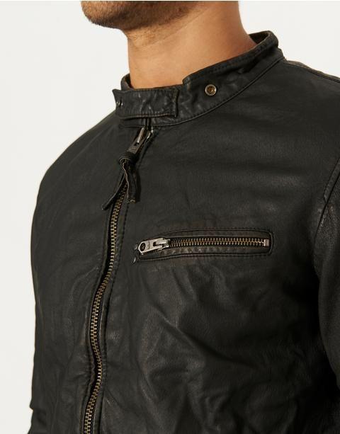 Jack Jones Vintage Cafe Racer Leather Jacket Bank Fashion