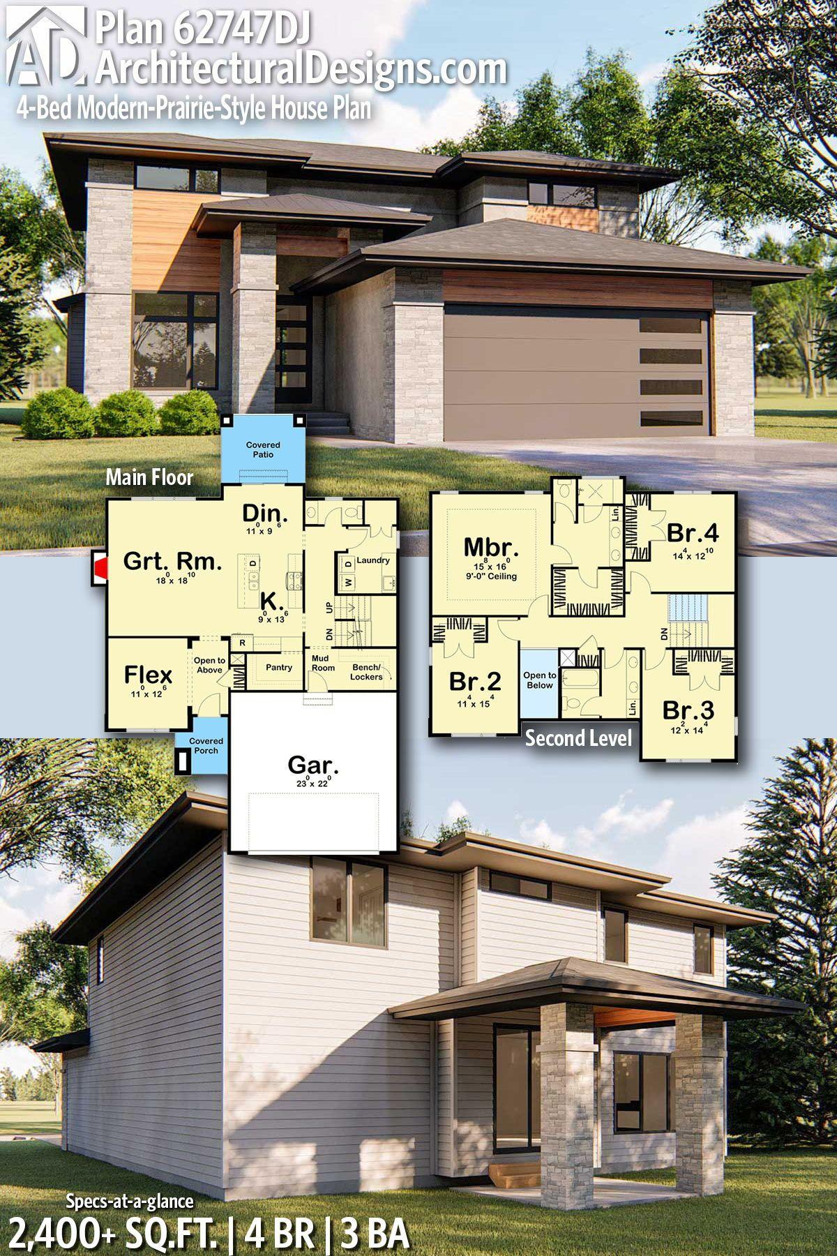 Plan 62747dj 4 Bed Modern Prairie Style House Plan Prairie Style Houses Modern House Plans House Design