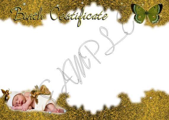 FAIRY GUARDIAN Reborn Baby Doll Birth Certificate  - a blank birth certificate