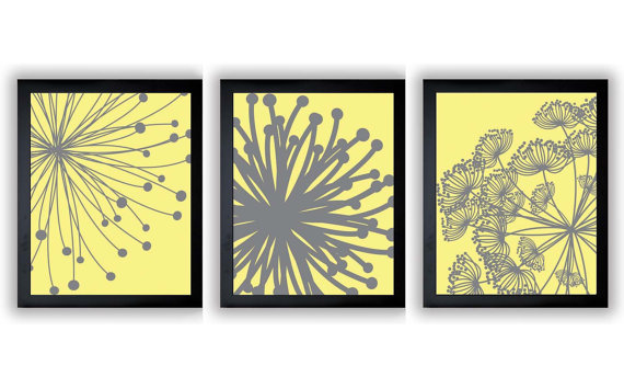 Yellow Grey Gray Flower Print Flowers Dandelion Set of 3 Art Prints ...