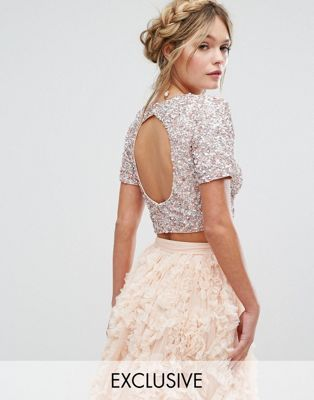 0472cb3c251b40 Lace   Beads Cropped Top with Embellishment and Open Back Co-ord ...