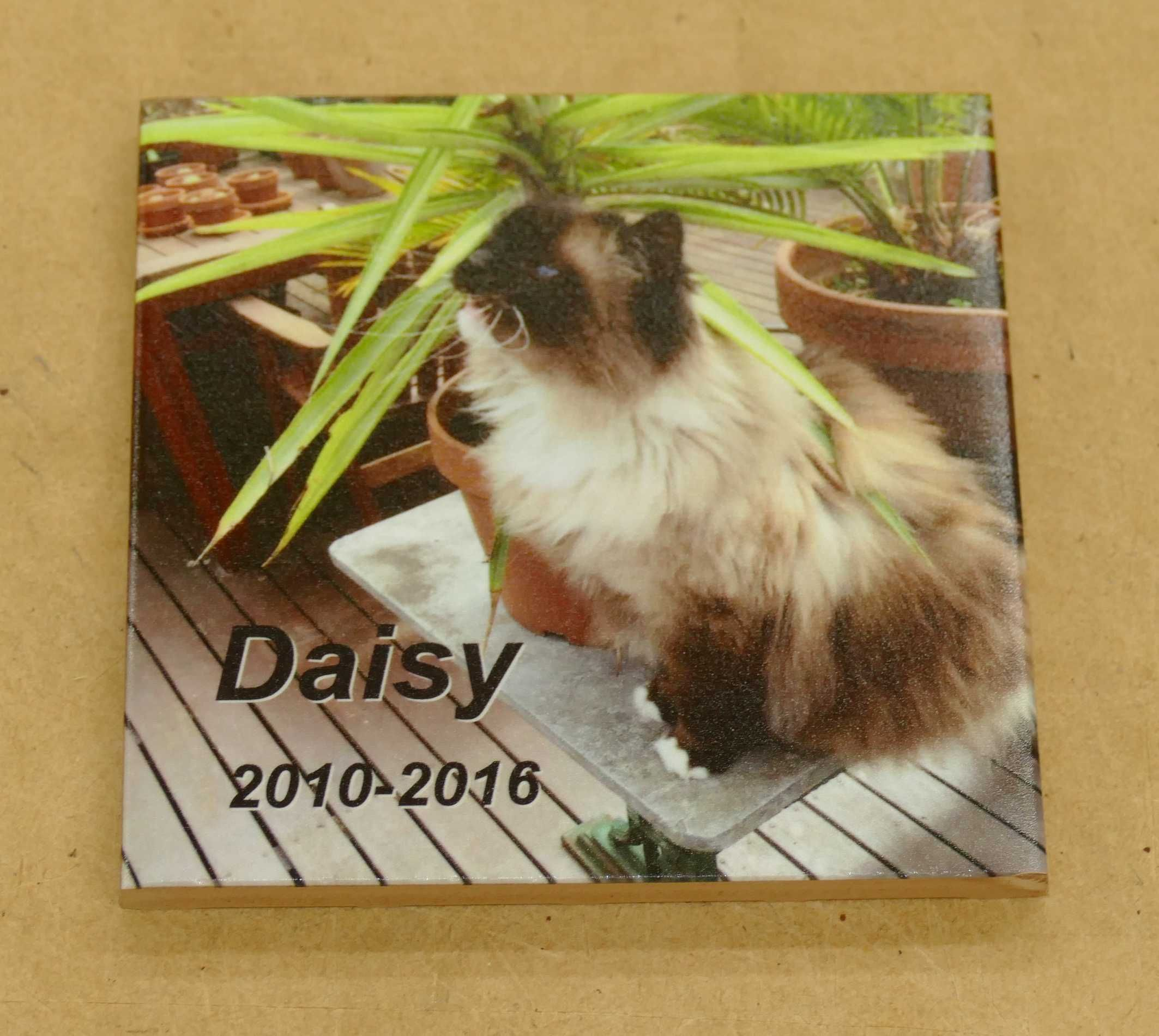 Memorial ceramic tile colour printed with photo place on wall or ...