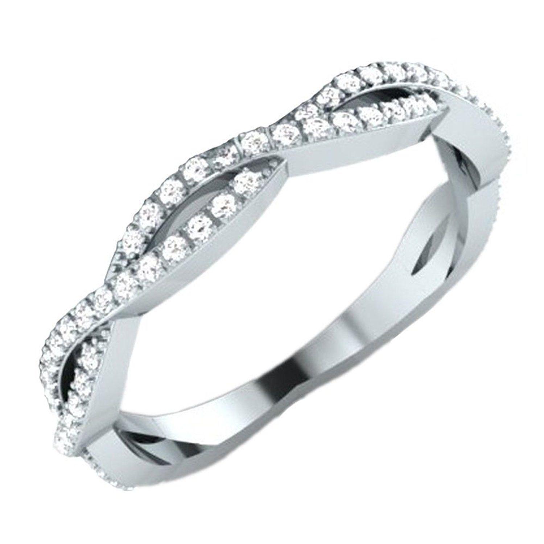 0 20 Carat ctw 14K Gold Round White Diamond La s Infinity