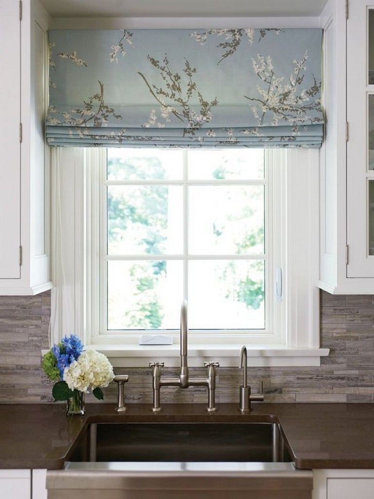 Grey White Floral Faux Roman Shade Modern Farmhouse Window Treatment Bedroom Bathroom Living Room Kitchen Dining