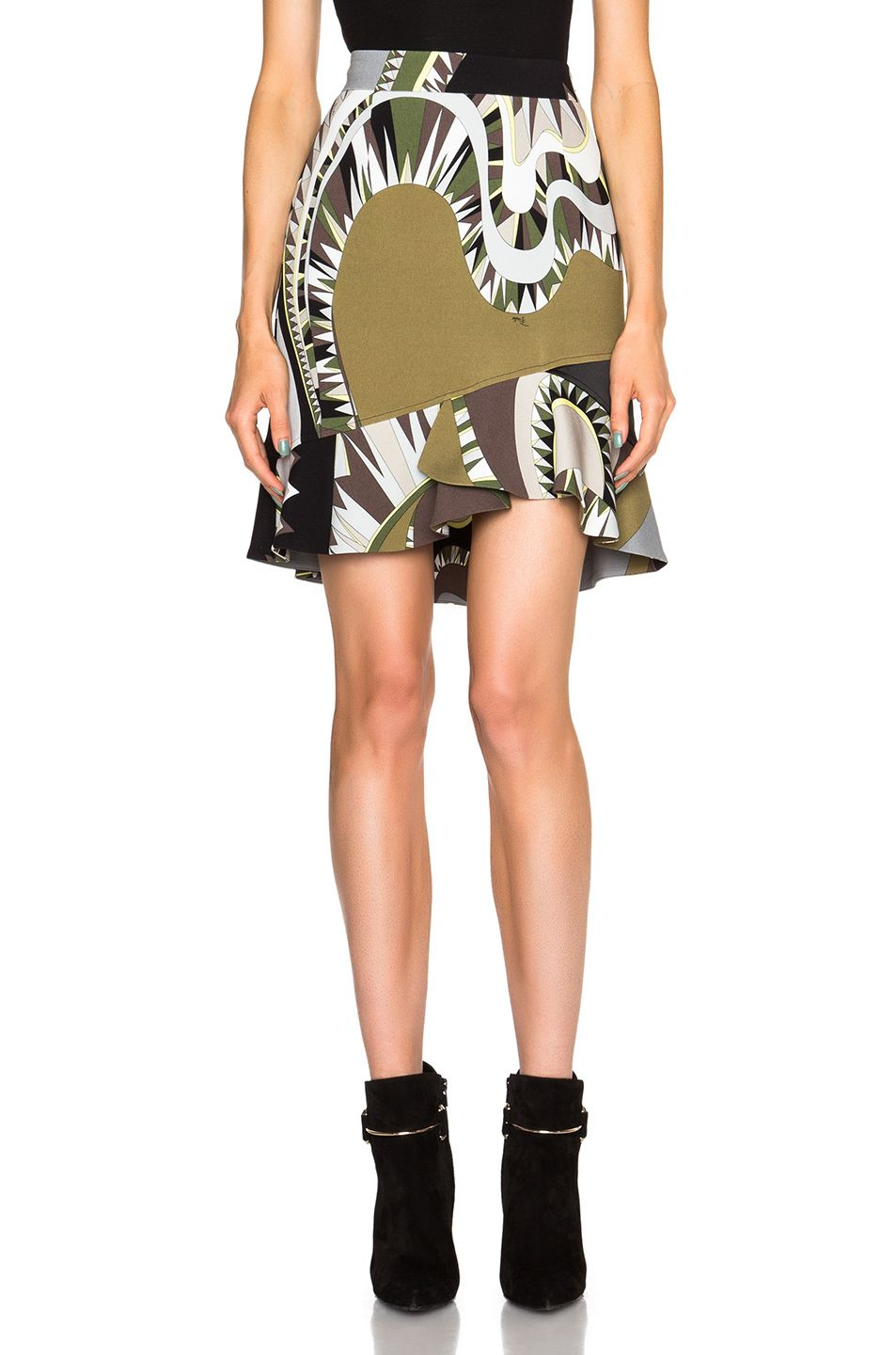 118fcb994835 Image 1 of Emilio Pucci Printed Flounce Skirt in Black   Khaki