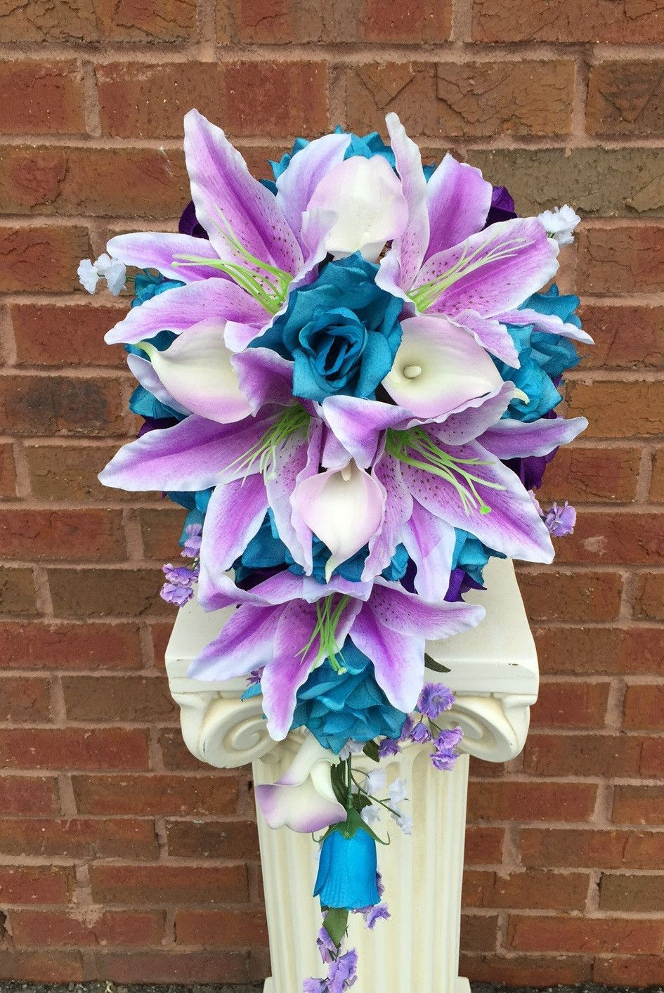 Cascade bouquet turquoise purple and white artificial flowers cascade bouquet turquoise shades of purple white wedding flower bouquetswhite bouquetsbridal bouquetsprom flowerssilk izmirmasajfo Gallery