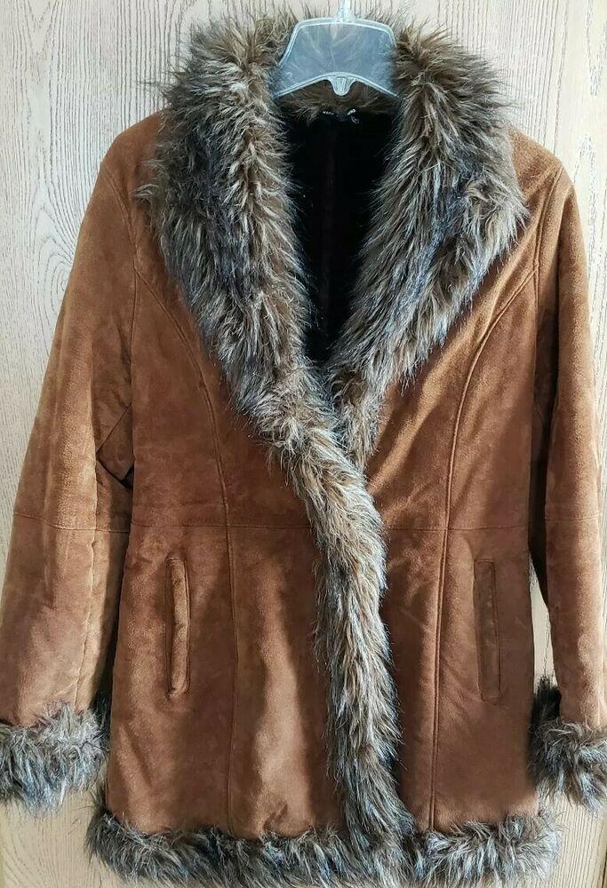 Pelle Studio Wilsons Leather Suede Coat Faux Fur Trim