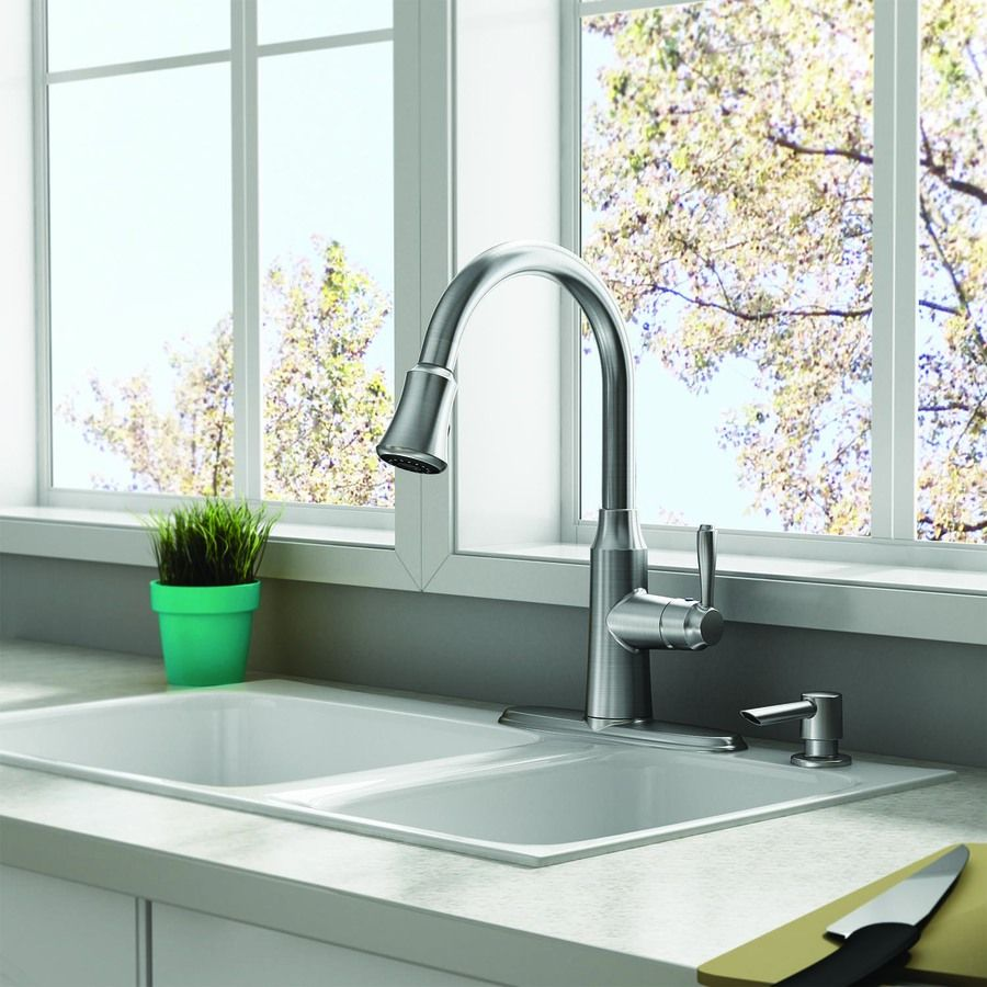 Shop American Standard Soltura Stainless Steel 1-Handle Pull-Down ...