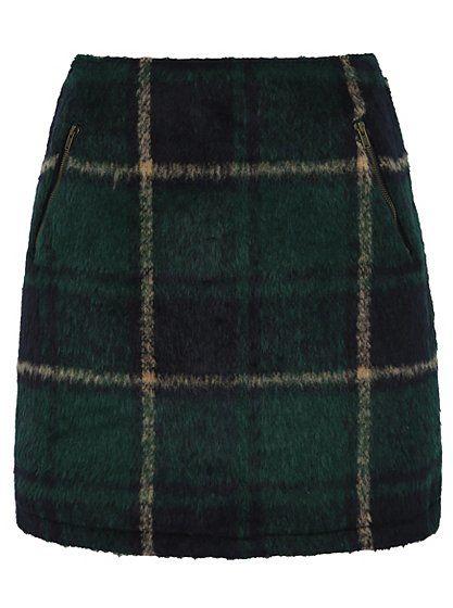 8fec8a8c92 Brushed Check Skirt | Dark Green | Asda Clothing | [ Autumn/Winter ...