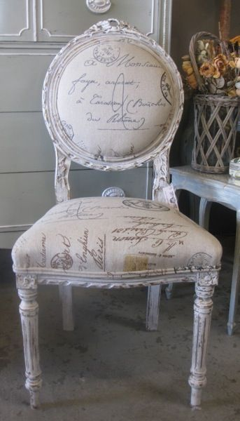 French Chair With Calligraphy Upholstery Perfect For Vanity Or Redo Stool Like This