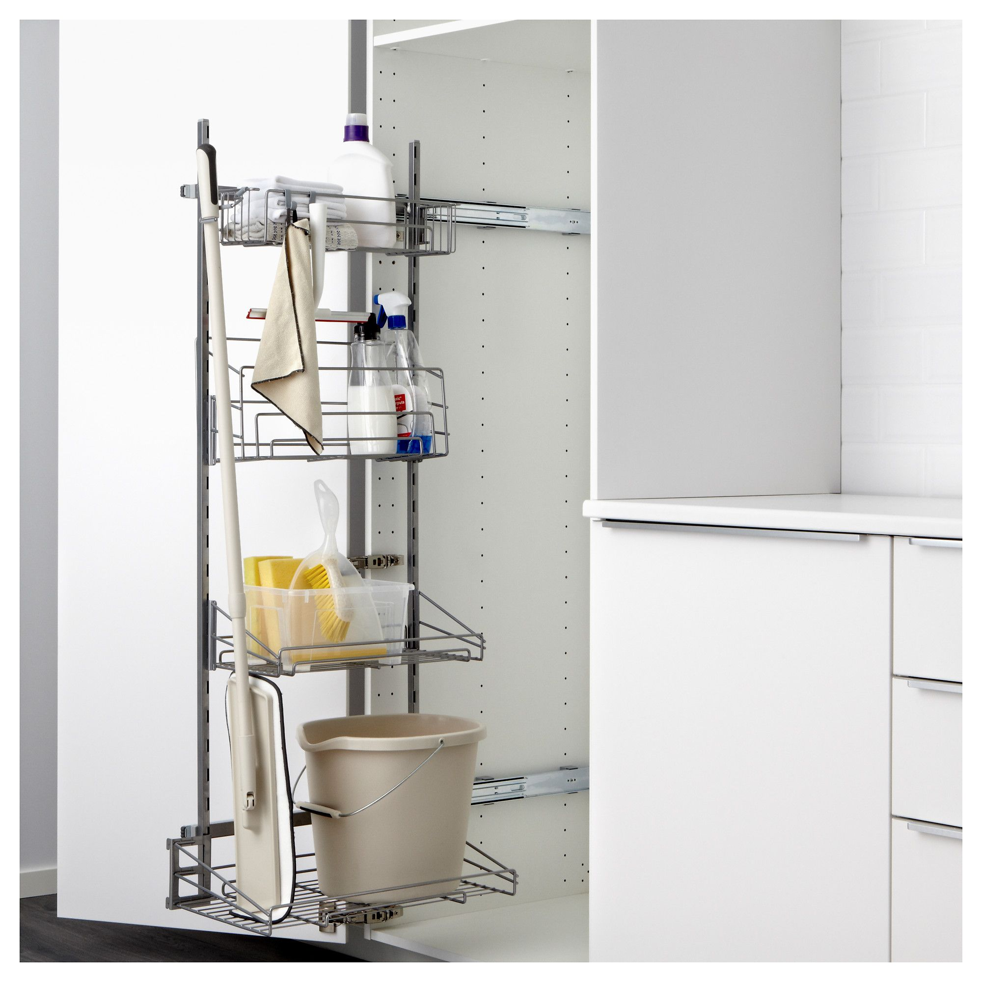 Kitchen Drawer Organizer Ikea Door Pulls Utrusta Pull Out Rack For Cleaning Supplies Products