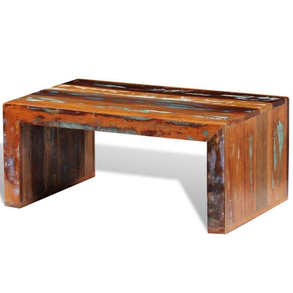 - Vintage Retro Coffee Table Solid Reclaimed Wood Handmade Living