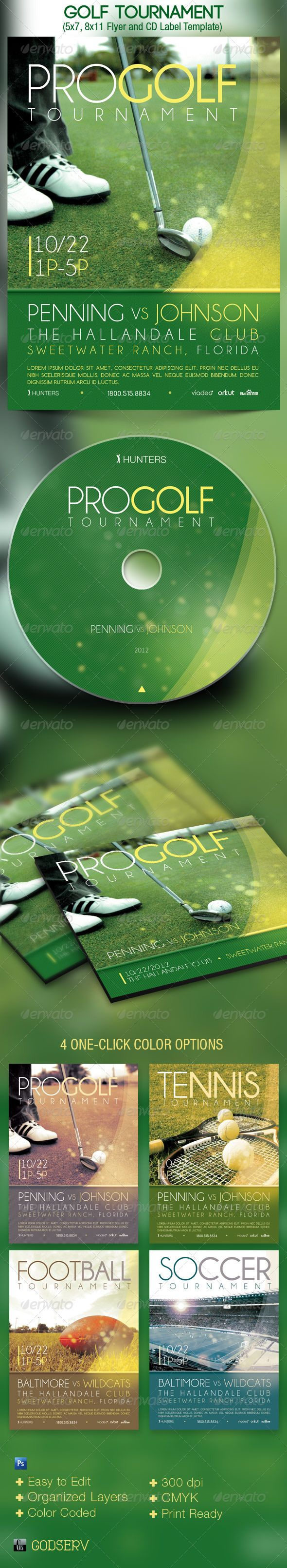 Golf Tournament Event Flyer Cd Template  Cd Labels Label