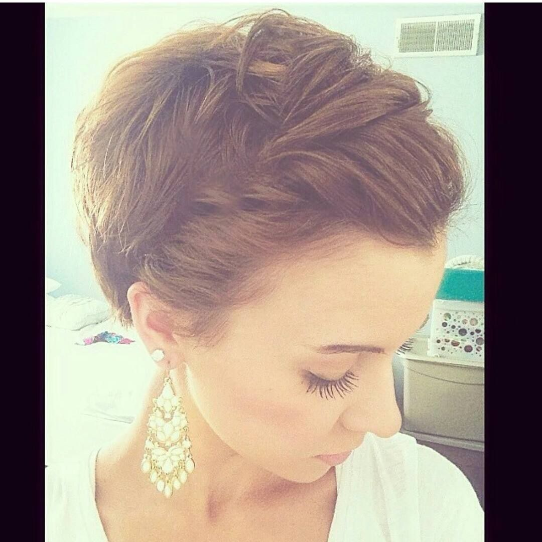 Cute pixie style use thin headband and tuck hair into it for the