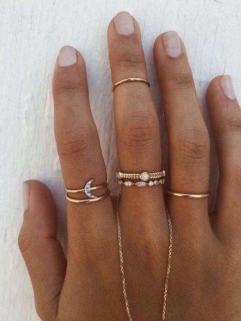 Photo of Moonstone Engagement Ring Rose gold Three stone engagement r…