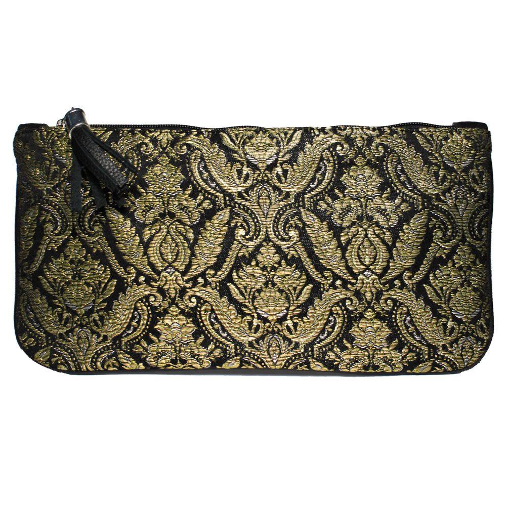 clutch fallera® con detalles florales, realizados en tela de seda color negro y oro. fallera bag with floral pattern. #bag #clutch #bolso http://fallera.com/es/bolsos/bc00705-detail