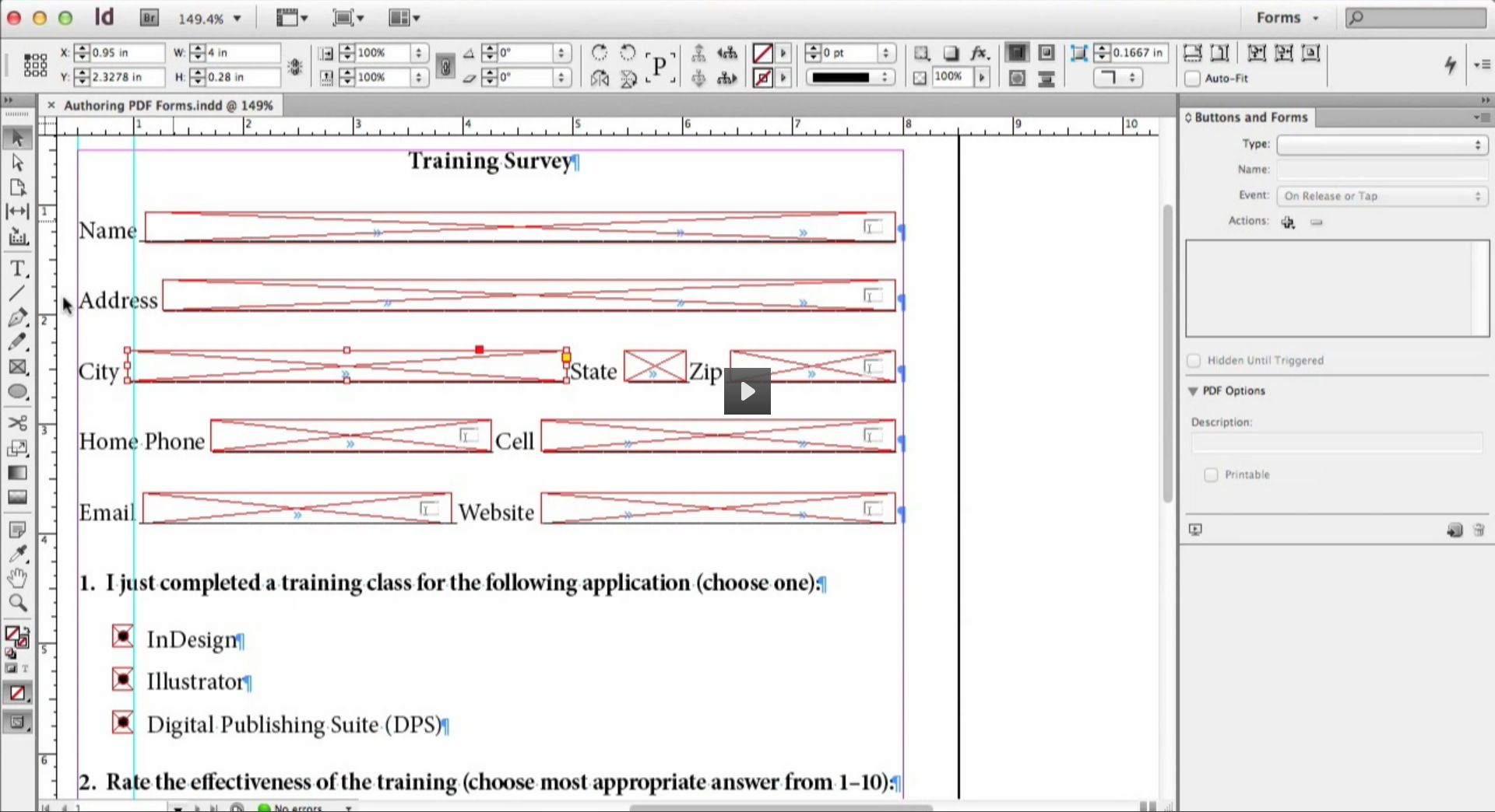 Tutorial ::: Creating Interactive PDF Forms in InDesign CS6