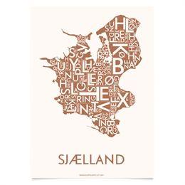 Plakat af Sjælland i smuk mat kobber. Viser Kalundborg, Roskilde, Vordingborg m.fl. 50x70cm.