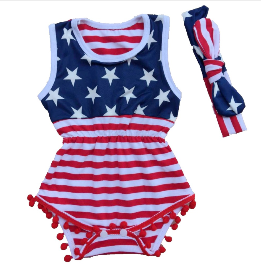 Fashion Toddler Baby 4th Of July Lace Stars Print Romper Jumpsuit //Dress Outfit