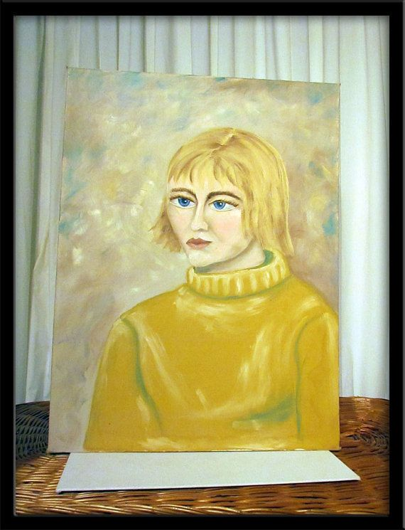 60's Blonde Vintage Primitive Painting Outsider Art Portrait Woman Big Eye 30% Off sale