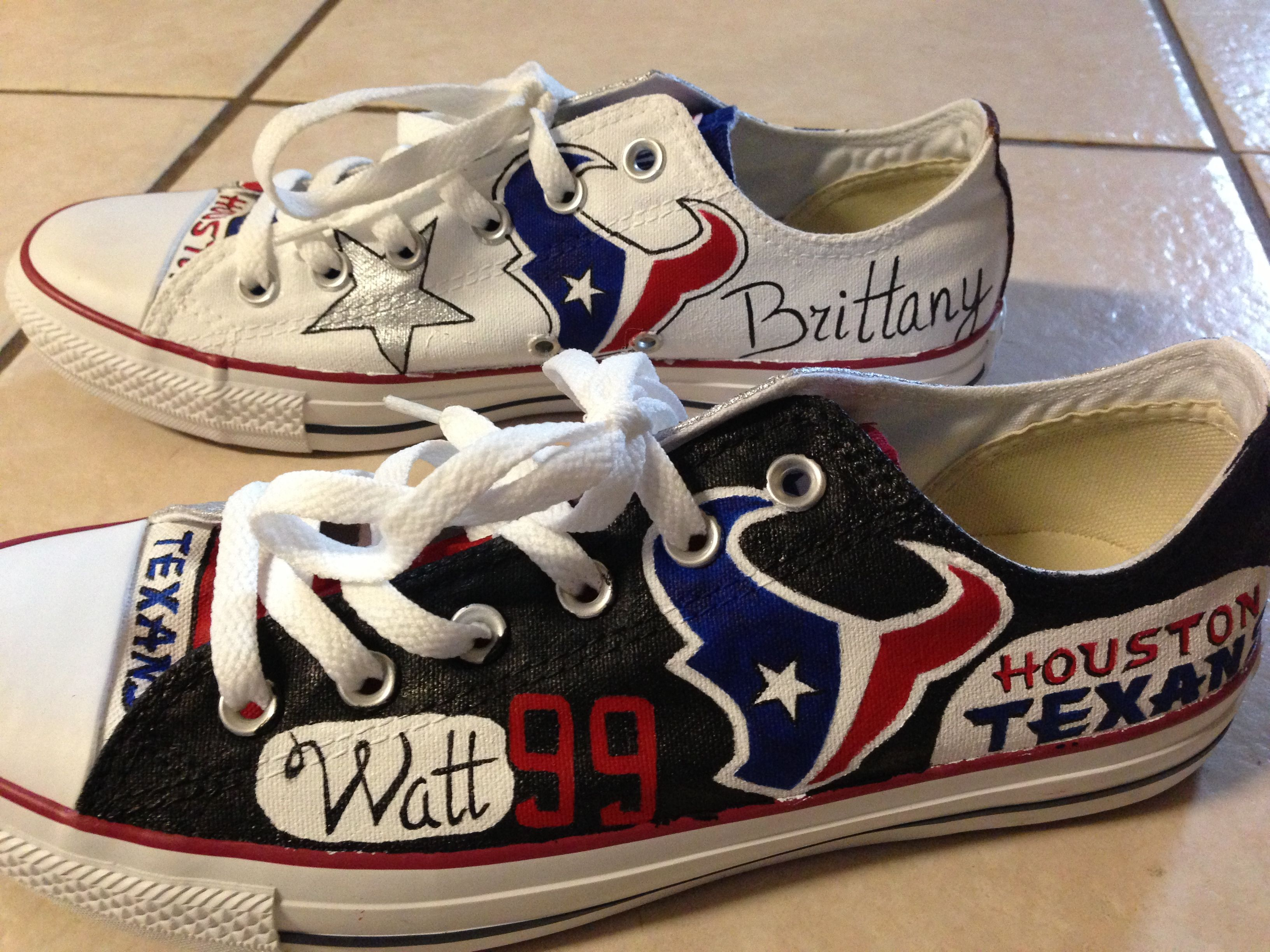 839b5f056ae3 Custom painted Houston Texans Converse AllStars.  Www.facebook.com vulpinecandy Highways quality fabric paint